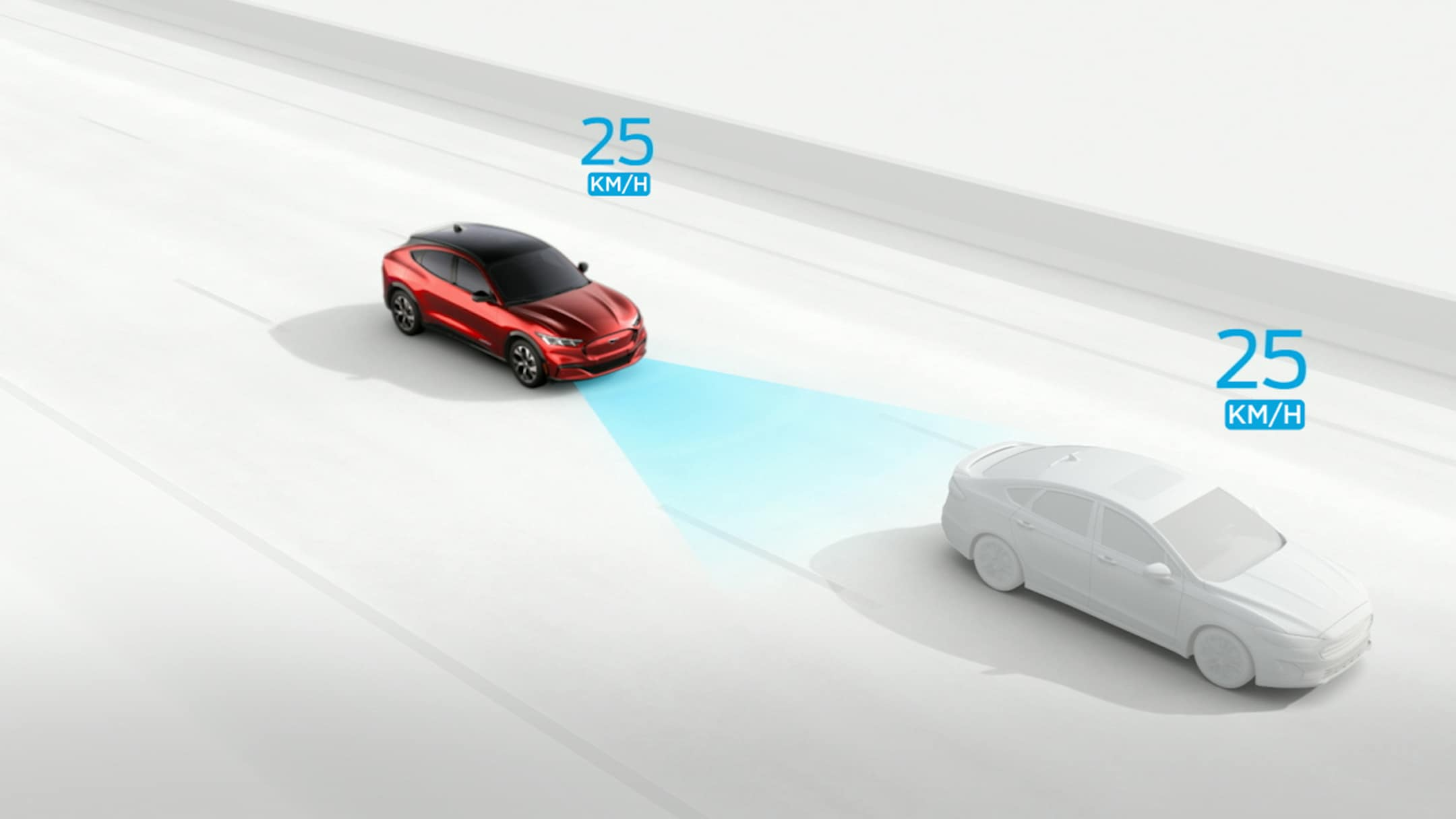 All-New Ford Mustang Mach-E driving behind a car using the Adaptive Cruise Control to maintain a pre-set distance