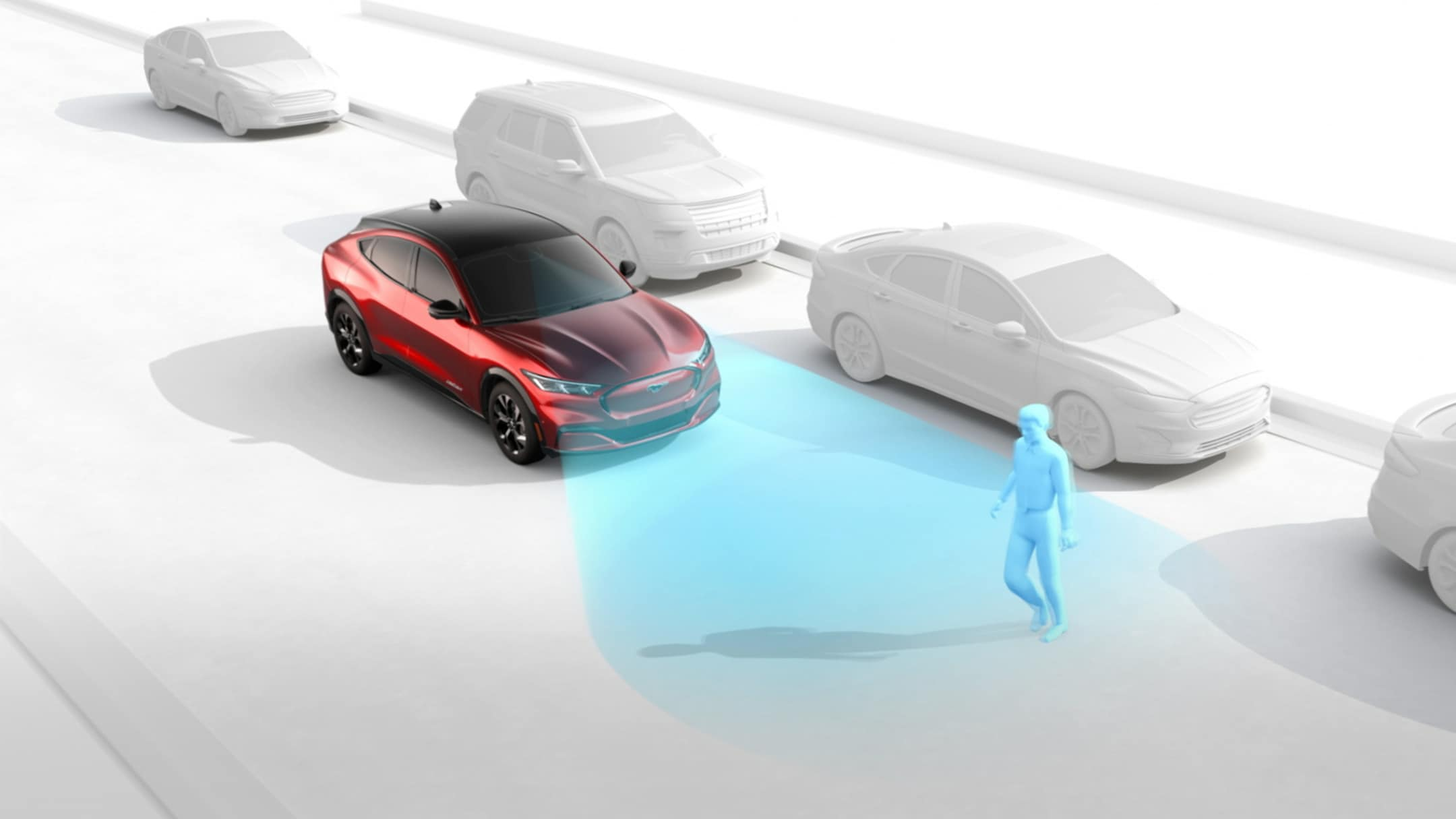 All-New Ford Mustang Mach-E detecting a pedestrian with the Pre-Collision Assist feature